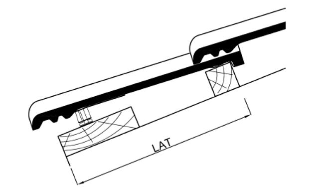 Расстояние между наружными краями первых двух брусков обрешетки (LAT)